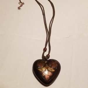 Bronze Brown and Gold Heart Necklace